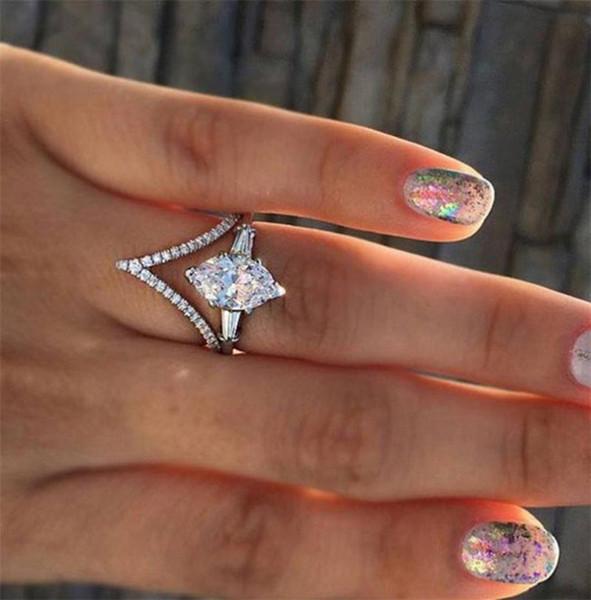 2020 Gem Diamond designer Ring Crown Hexagonal Crystal Rings Wedding Shiny Opal Ring for Women Fashion Jewelry drop shipping