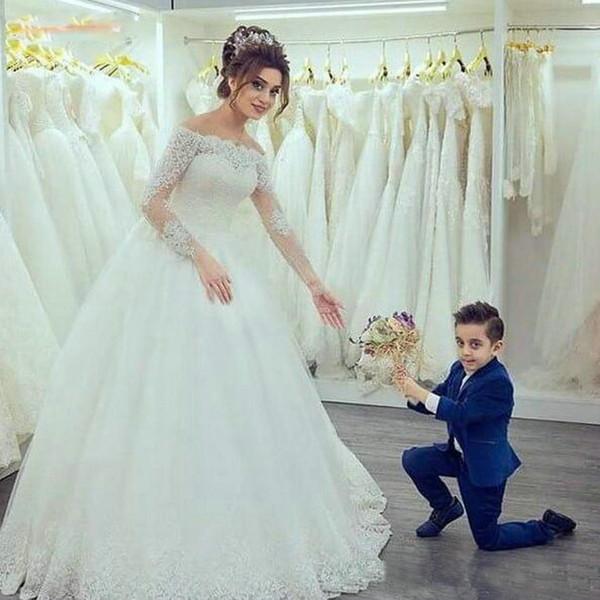 Elegante weiße Brautkleider mit U-Boot-Ausschnitt und langen Ärmeln aus der Schulter Elfenbein Brautkleider Tüll Spitze Appliques Fairy Bride Dress