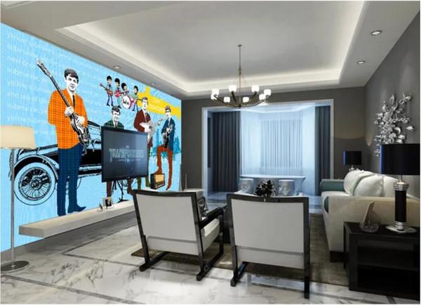 3d غرفة خلفية مخصصة صور جدارية البيتلز التوضيح جدار ديكور المنزل جدار الفن صور جدار الفن قماش صور خلفيات للجدران 3 د