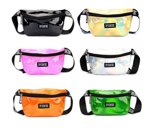 top popular Pink letter Fanny Pack Hologram Laser Waist Belt Bag Waterproof Translucent Shiny Travel Beach Outdoor Bags 9 Colors Free Ship 2020