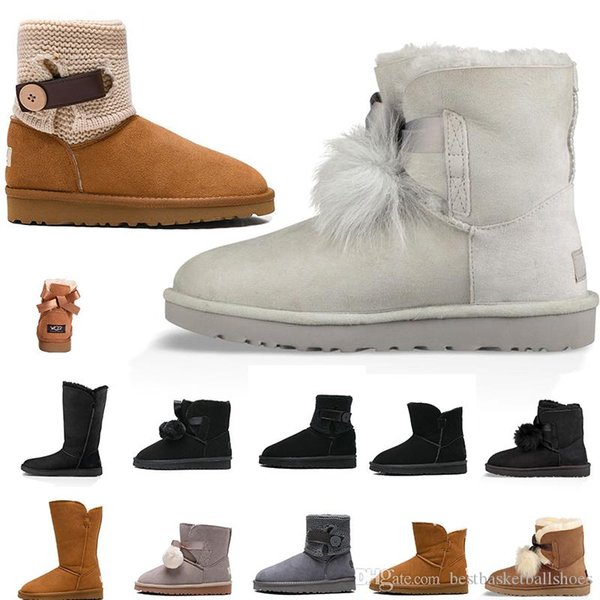 2019 designers women Winter Snow Boots Fashion Australia Classic Short bow boot Ankle over the Knee Bow girl MINI Bailey booties 35-41