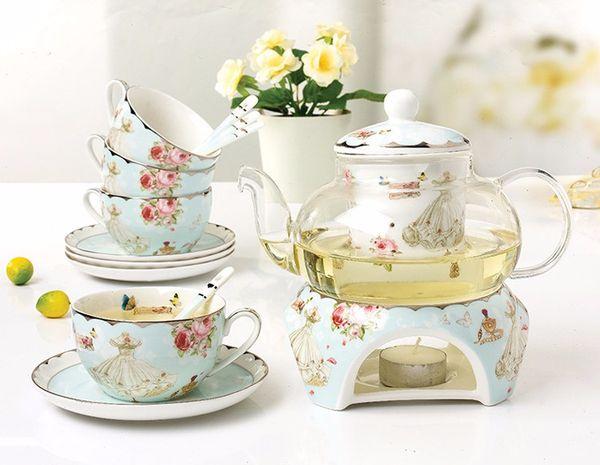 2019 Ceramic 15 PCS Flower Tea Set British Afternoon Black Tea Set Heatable Glass Teapot Bone China Tea Cups And Saucers