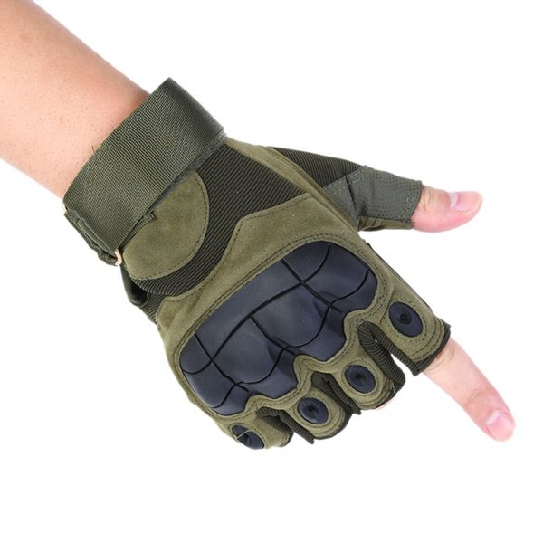 2019 tactical half finger gloves armed army paintball half gloves shooting airsoft combat anti-skid rubber knuckle thumbnail
