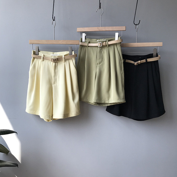 Mooirue 2019 Spring Summer Fashion Korean Shorts Feminino High Elastic High Waist Black Green Wide Leg Hotpants Bottom T4190617