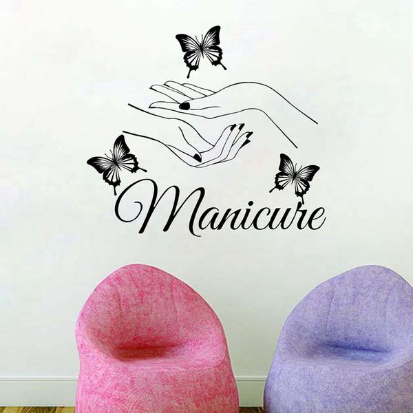 Beauty Nail Salon Vinyl Art Manicure Wall Decals butterfly hands Nail Shop Wall Window Art Decoration Customized wall stickers