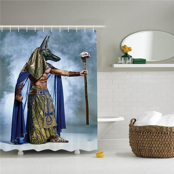 Ägyptische Dekorsammlung, alter ägyptischer Pharao mit einer Maske von Anubis Foggy Hintergrunddruck, Polyester-Duschvorhang aus Bad