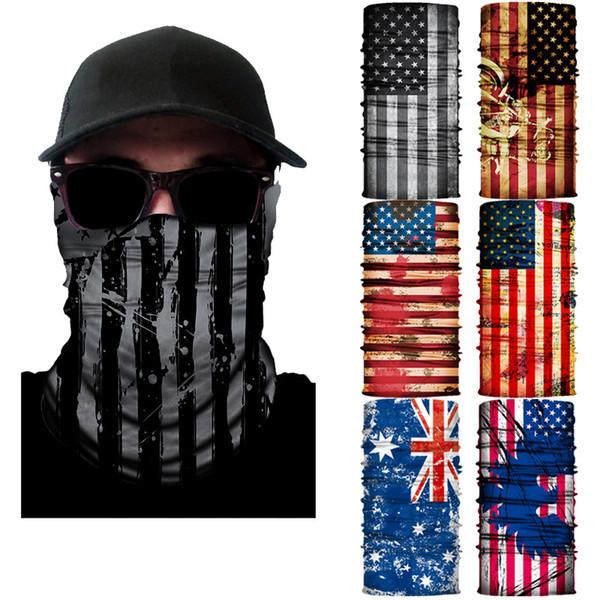 top popular Cool Motorcycle face Mask American flag Cycling tubular seamless bandanas Fishing Balaclava HeadScarf mask 10pcs lot 2021