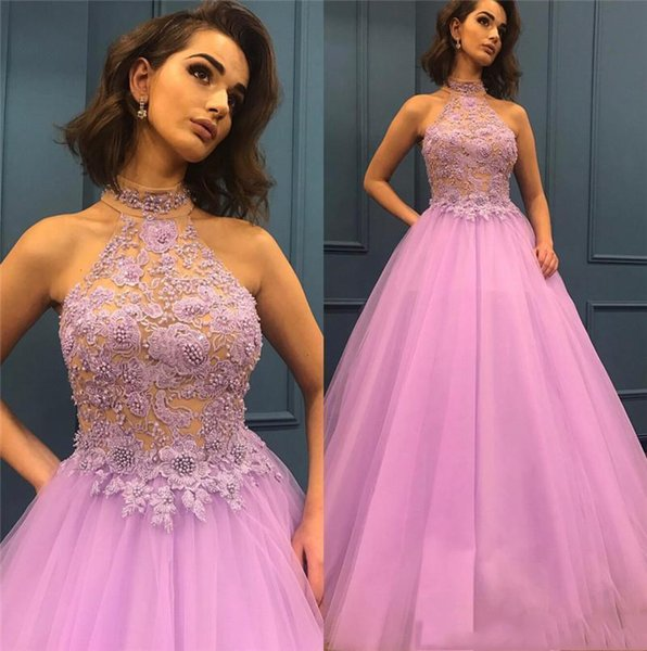 Plus Size Light Purple Sexy Backless Halter Prom Dresses 2019 A Line Appliqued Beaded Tulle floor Length Girls Formal Evening Gowns