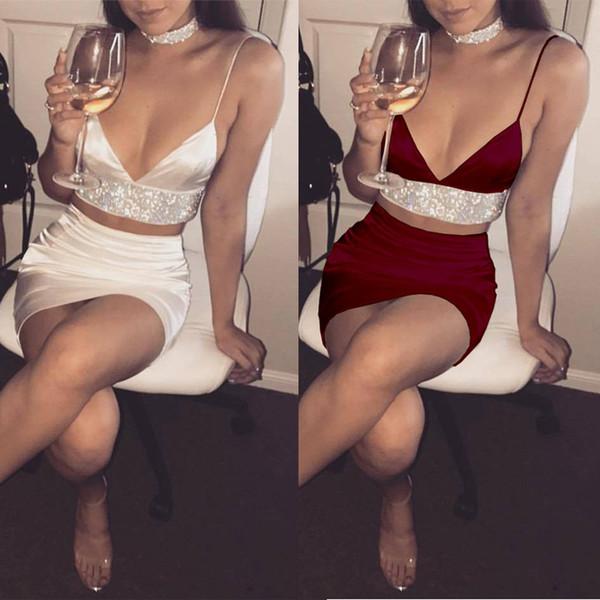 Elegante Womens 2 pezzi Bodycon scollo a V Crop Top e gonna Set Split Clubwear Party abiti a costine Pencil Party abbigliamento Set