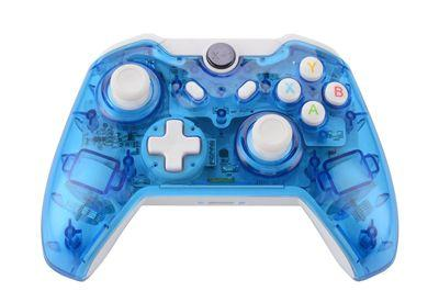 Wired usb gamepad for Microsoft Xbox ONE Console & PC Windows Transparent shell + Key improvement + Three mode Dazzling LED