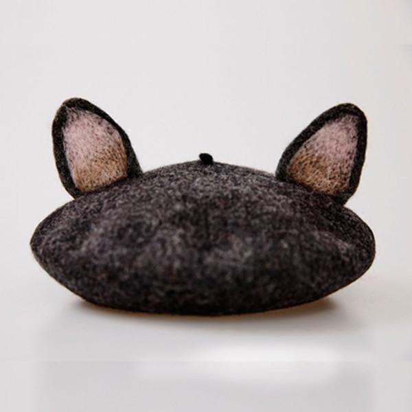Cute Cat Ear Berretti Caps Donne inverno lana calda Beret Cappelli signora Handmade di modo di stile del fumetto del bambino del regalo di compleanno Vintage Cap
