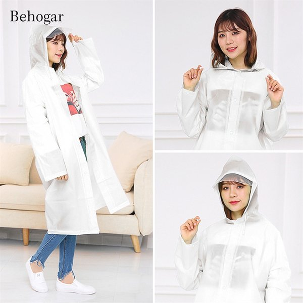 Behogar Universal Adult Reusable Waterproof EVA Raincoat Poncho Rainwear for Men Women Hiking Fishing Working Outdoor White #219963