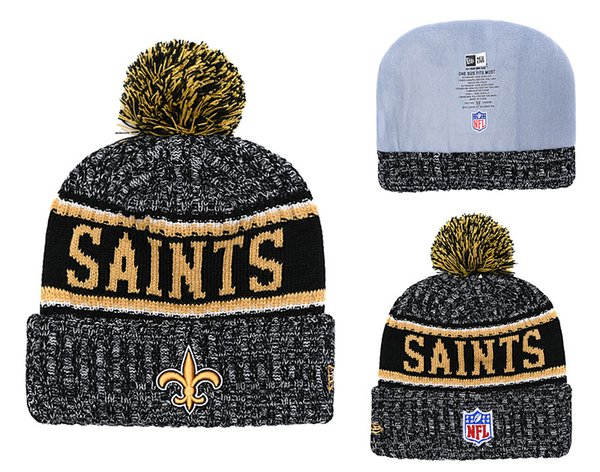 448ac2bdb68b5f Men's New Orleans Saints New Black 2018 Sideline Cold Weather Official  Sport Knit Black Team Logo