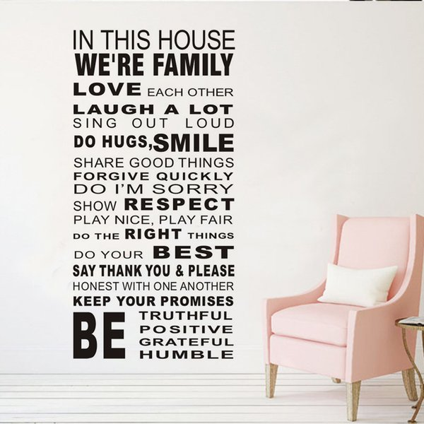 1 Pcs Large Size Article Text Living Room Kids Wall Sticker Autocollant Mural House Rule Wall Decals Vinyl Stickers Home Decor