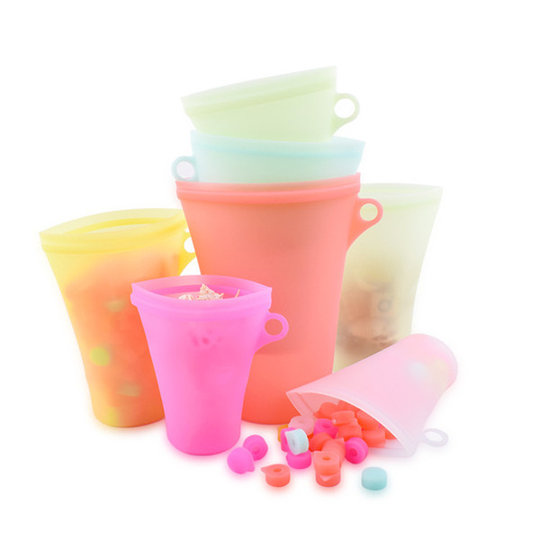 new Silicone Food Bags Fresh Bag Kitchen Tools Reusable Storage Fruit Vegetable Household Stand Up Zip Container Kitchen Storage T2I5358