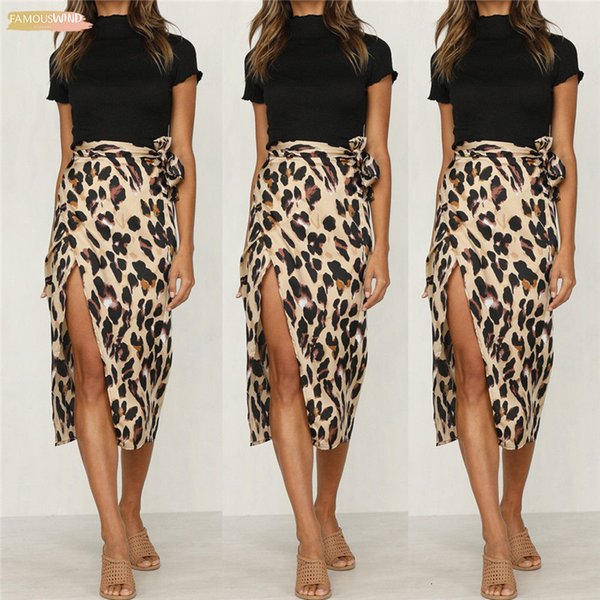 Leopard-Frauen-Mittler-Kalb mit hoher Taille Rock mit Schärpen der neuen Dame Sexy Fashion Büroarbeit Röcke Sommer Drucken Slit Skirt