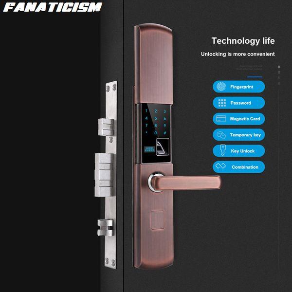 best selling Fanaticism Semiconductor Fingerprint Password Lock Security Door Home Door Lock Glass Door Smart Electronic Card Lock
