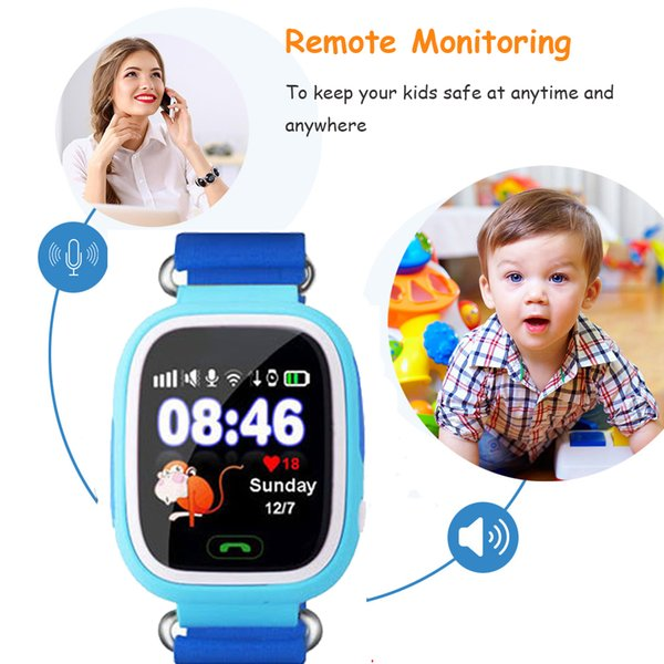 Child GPS Wifi Location Smart Watch Q90 SOS Call Touch Screen Device Tracker for Kid Baby Safe Anti-Lost Monitor PK Q80 Q750 Q60