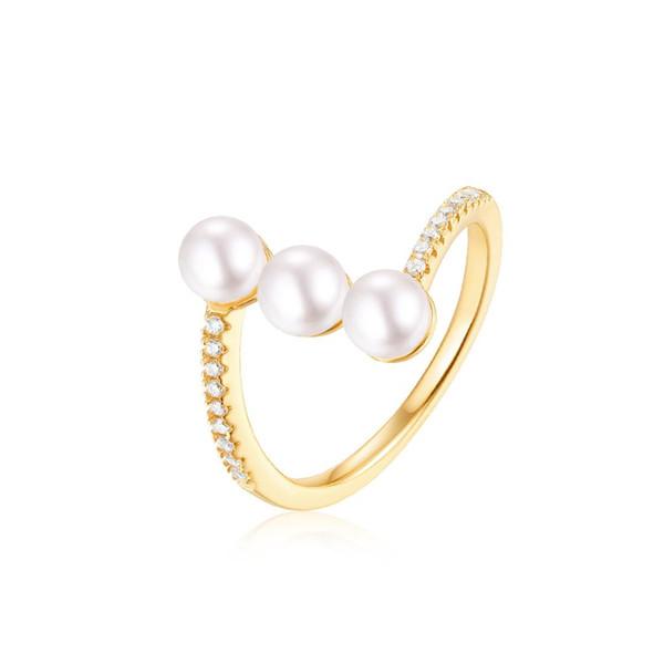 Lujo 9KT Recubrimiento de oro amarillo S925 Plata Oro Pan de agua dulce Joyería de perlas Anillo de perlas con caja