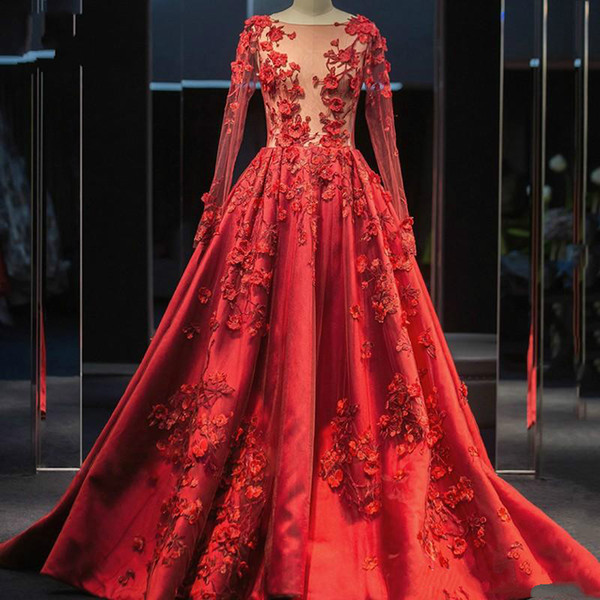 Red Evening Dresses 2020 Real Image A Line Illusion Sheer Neck Long Sleeve Appliques Hand Made Flowers Long Satin Prom Quinceanera Gowns