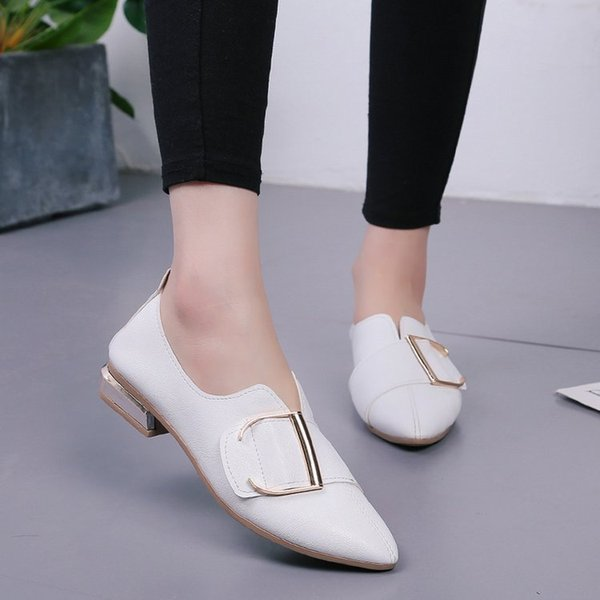 Designer Dress Shoes Spring autumn shallow pumps women fashion D buckle pointed toe sexy ladies low heels casual slip on female