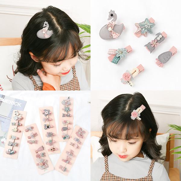Kızlar için 6 Adet / takım saç klipler Aksesuarları şapkalar Sevimli Karikatür Kumaş Yay Çiçek Tokalar çocuk Prenses Tokalarım Headdress