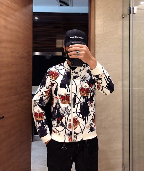 Fashion Jacket Casual Windbreaker Long Sleeve Cotton Blend Size M-3XL One Coler Mens Jackets Zipper Pocket Animal Flower Letter Pattern77