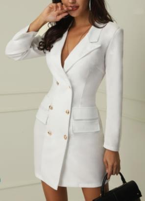Mulheres Escritório Senhora Trabalho Vestido Primavera Outono Com Decote Em V Double Breasted Blazer Vestidos Branco Preto