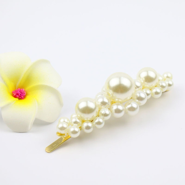 flower pearl hair clip big barratte bridal shiny hair accessoreis korean fashion hair pins hand made factory costume jewellery