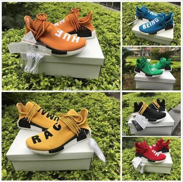 2018 Großhandel Human Race Hu Trail Casual Schuhe Männer Frauen Pharrell Williams Gelb edlen Tintenkern Schwarz Rot im Freien Schuh mit Box Größe 5-13