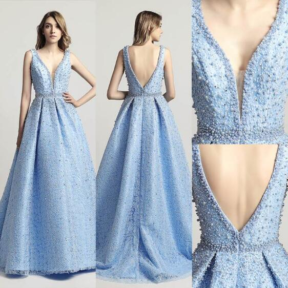 top popular 2019 Free Shipping celebrity In Stock Ball Gown V Neck Evening Dress Sleeveless Style Beaded Blue Prom Dress vestido formatura party dress 2019