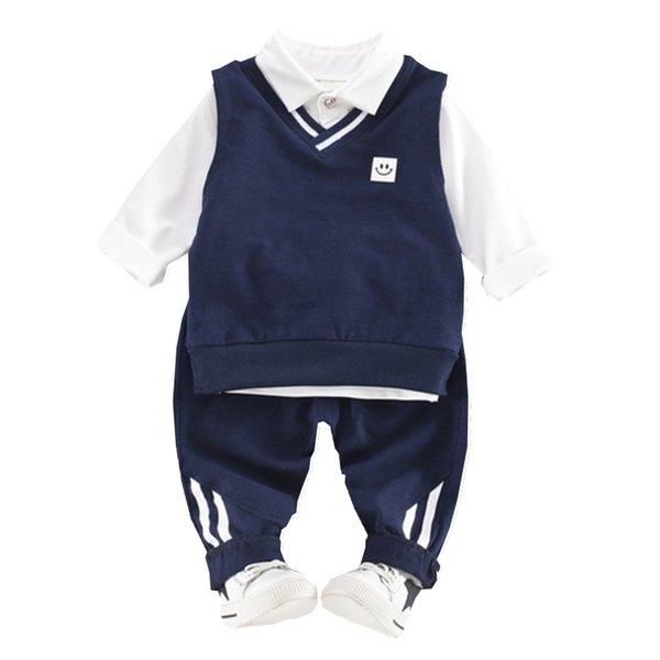Fashion Children Boys Girls Clothes Baby Cartoon Smile Vest T-shirt Pants 3Pcs/Sets Kids Cotton Clothing Sets Toddler Tracksuits