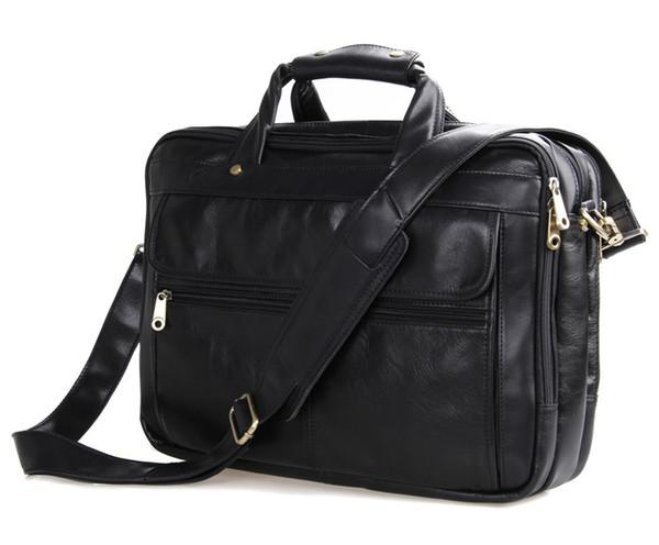 Nesitu Negro / Gris / Café Maletín de cuero genuino vintage 15.6 '' Laptop Bag Men Messenger Bags Business Travel Bag # M7146