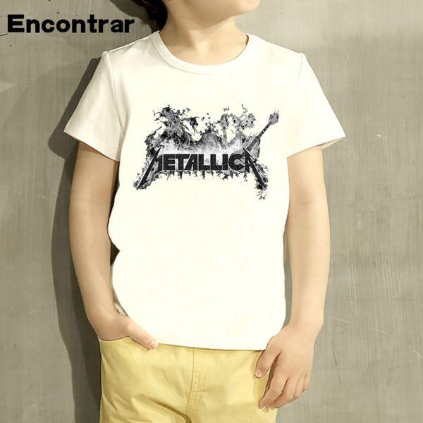 Heavy Metal Rock Metallica Projeto Dos Desenhos Animados Do Bebê Meninos / Menina Camiseta Crianças Engraçado Manga Curta Tops Crianças Bonito