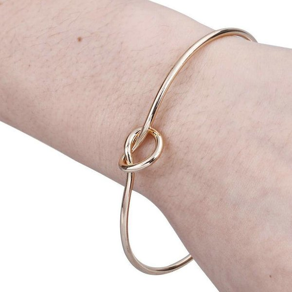 Metal Zinc Alloy Rose Gold Color Tie Knot LOVE Bracelet Bangles Simple Twist Cuff Open Bangles Jewelry Adjustable Bangle For Women Jewelry
