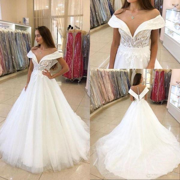 Elegant Illusion Off The Shoulder Wedding Dresses Covered Button Court Train A Line Brial Wedding Gowns Lace vestidos de novia