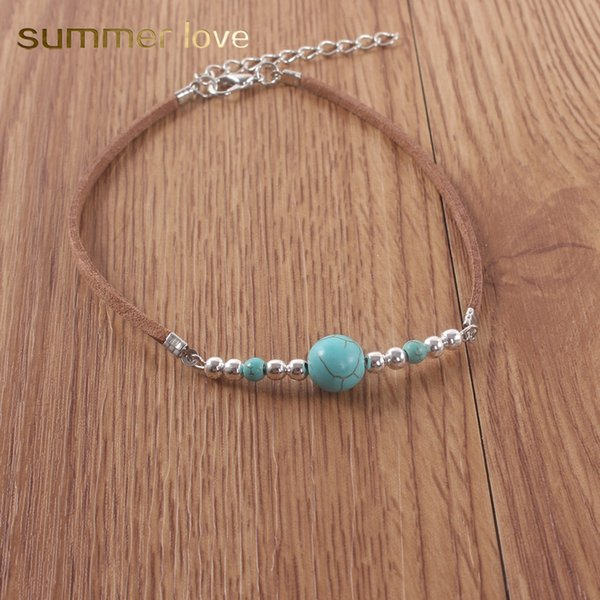 Vintage Ethnic Velvet Blue Turquoise Beaded Bracelet Anklet Boho Fashion Charm Anklet for Woman Man Bohemian Pendant Jewelry 2019