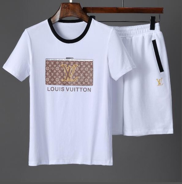 Popular 2019 Summer New Style Men's Tracksuit Cotton T-Shirt Short Pants Print VV Brand Shirts Trousers Pant Tee Shirt Sports Suit 1801