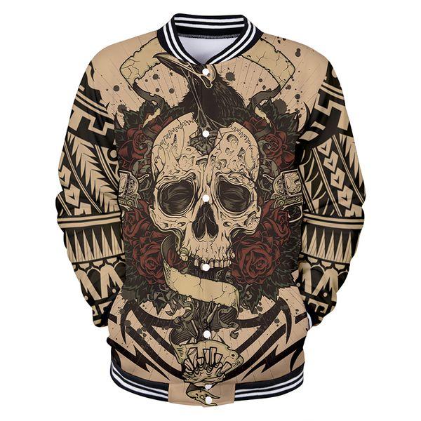 3d Print Baseball Jacket Tattoo Skull Rose Fashion Men Women Hoodie Sweatshirts Coats Casual Long Sleeve 3D Hoodies Jackets Tops
