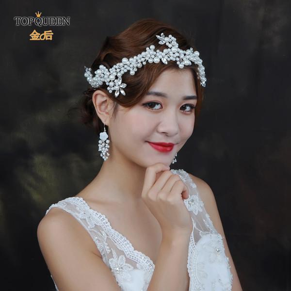 corona di cerimonia nuziale all'ingrosso HP186 per i copricapo della perla della sposa per il matrimonio nuziale dell'ornamento dei capelli del cristallo di rocca dell'amica