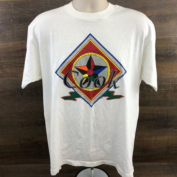 mens designer t shirts shirt Cook Rainbow Star Art Logo Print Men's T-Shirt 348-13 Graphic Tee White Size XL
