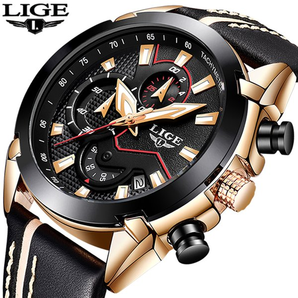 2018 New Lige Design Fashion Brand Watches Mens Leather Sport Date Chronograph Quartz Watch Male Gifts Clock Relogio Masculino Y19051403