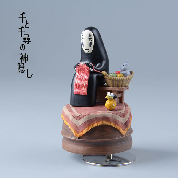 Studio Ghilbli Kaonashi Action Figures Miyazaki Hayao Spirited Away Music Box No Face Resin Figurine Kids Toys Anime Figure Y190604