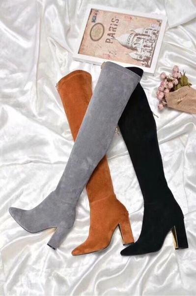 C04 últimas botas de las mujeres de moda de cuero reales auténticos de alta calidad sexy tacones altos zapatos casuales fiesta de la moda de marca a largo sala de arranque