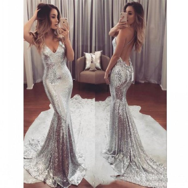 2019 Sexy Silver Sequin Mermaid Evening Dresses Long V Neck Cheap Party Gowns Backless Sweep Train Formal Prom Dress for Women