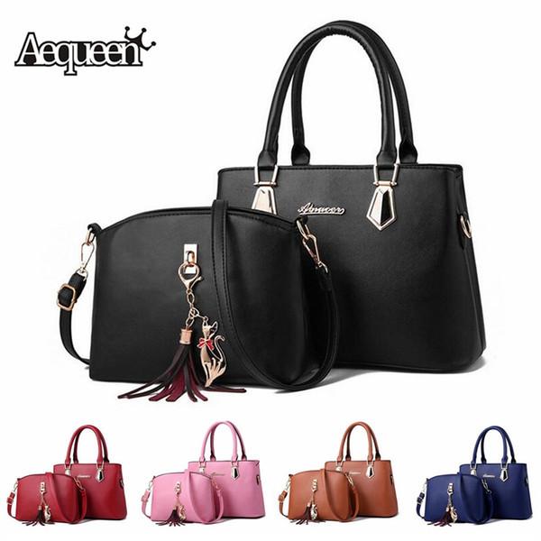 2 PCS Women Bags Set Black Leather Handbag Tote Purse Ladies Hand Bags Luxury Shoulder Bag for Women Messenger Bag Female Bolsas