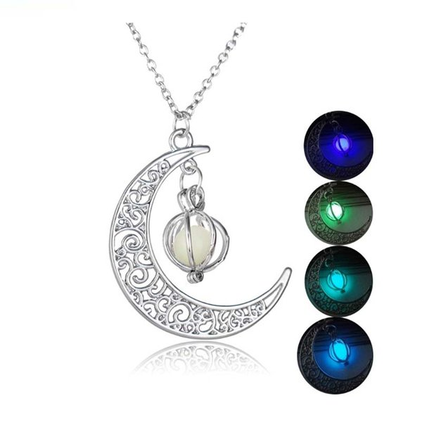 New Hot Moon Glowing Necklace,Gem Charm Jewelry,Silver Plated,Women Halloween Hollow Luminous Stone Necklace Gifts