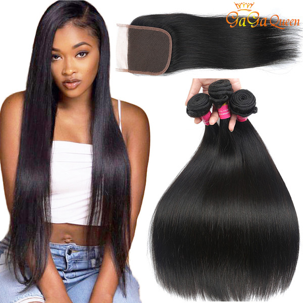 top popular Brazilian Straight Hair With Closure Wholesale Brazilian Virgin Hair 3 Bundles With Lace Closure 4x4 Lace Closure With Human Hair Bundles 2021