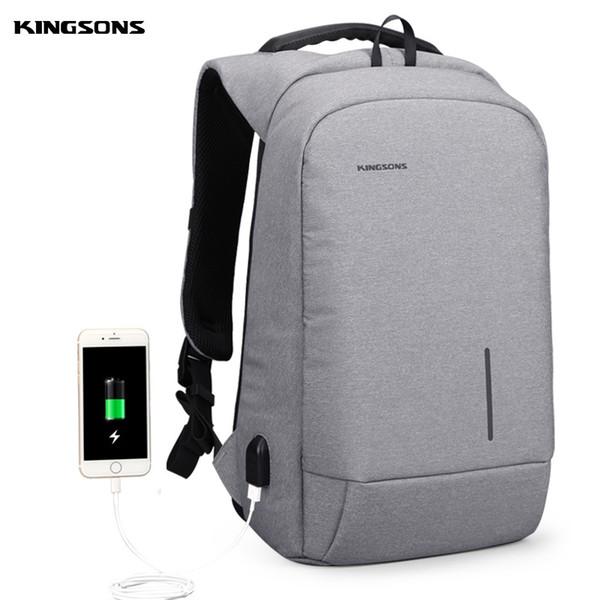 Kingsons Brand 15'' Men Laptop Backpack External USB Charge Antitheft Computer Backpacks Male Waterproof Bags New Arrival #226893