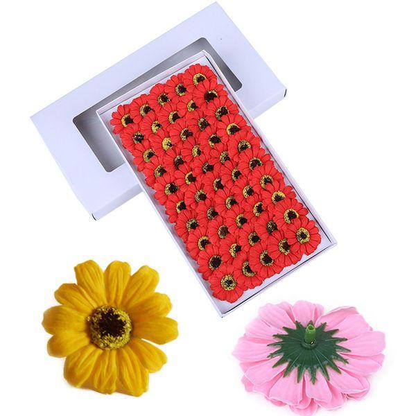 Flor de la margarita del jabón 50 unids / caja flores artificiales Scrapbooking Jabón cabeza de flor regalo de la flor bricolaje decoración de la boda Y19061103